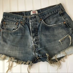 Levi's 501 button-fly distressed shorts SIZE 31